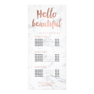 Hello beautiful gold typography marble price list rack cards