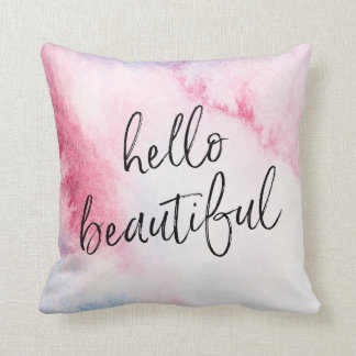 Hello beautiful hand-lettered watercolour pillow