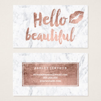 Hello beautiful lips rose gold typography marble business card