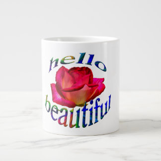 Hello beautiful on a jumbo mug