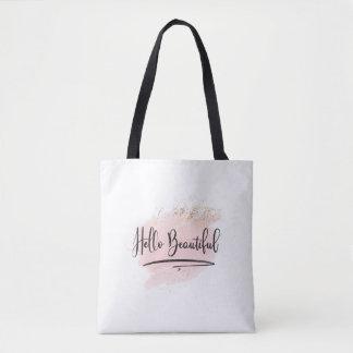 Hello Beautiful Pink Watercolor Bag