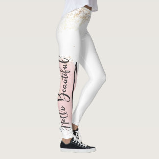 Hello Beautiful Pink Watercolor Leggings