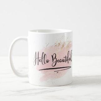 Hello Beautiful Pink Watercolor Mug