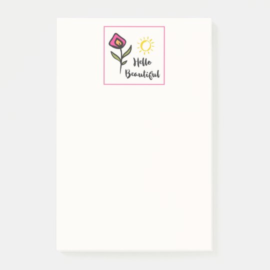 Hello Beautiful Pretty Wildlflowers and Sun Post-it® Notes