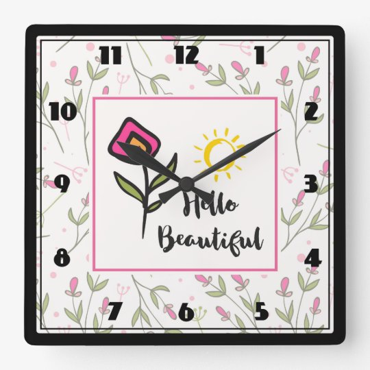 Hello Beautiful Pretty Wildlflowers and Sun Wall Clock