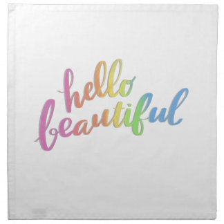 HELLO BEAUTIFUL RAINBOW CALLIGRAPHY NAPKIN