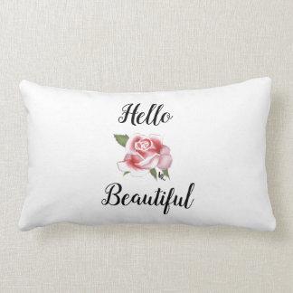 Hello Beautiful Rose Cotton Throw Pillow