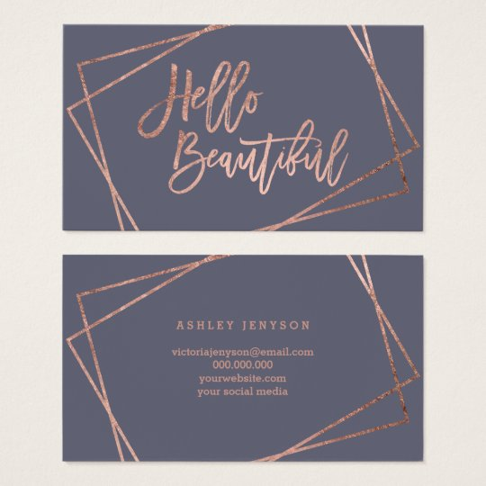 Hello beautiful rose gold script geometric purple business card
