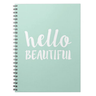 HELLO BEAUTIFUL Trendy Teal Notebook