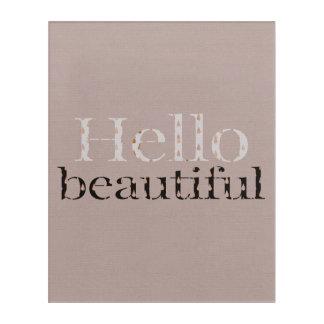 Hello beautiful typographic design, dark pink gold acrylic print