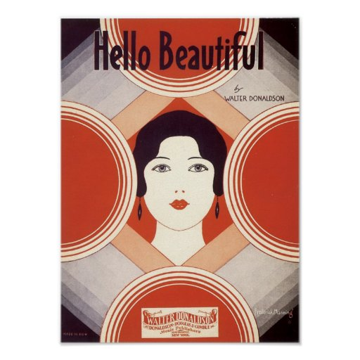 Hello Beautiful Vintage Songbook Cover Posters