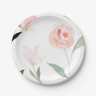 Hello Beautiful Watercolor Floral 7 Inch Paper Plate