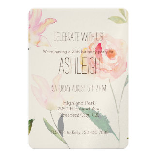Hello Beautiful Watercolor Floral birthday Card