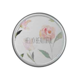 Hello Beautiful Watercolor Floral Bluetooth Speaker