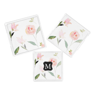 Hello Beautiful Watercolor Floral Monogram Perfume Tray