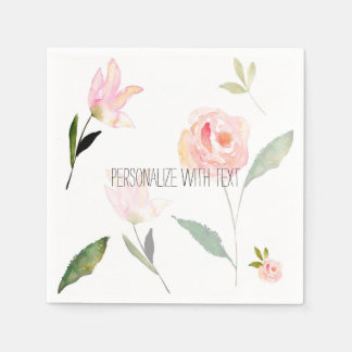 Hello Beautiful Watercolor Floral Napkin