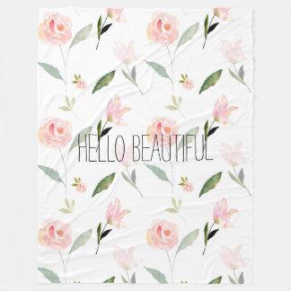 Hello Beautiful Watercolor Floral pink garden chic Fleece Blanket