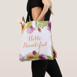 Hello Beautiful Watercolor Garden Flowers Tote Bag