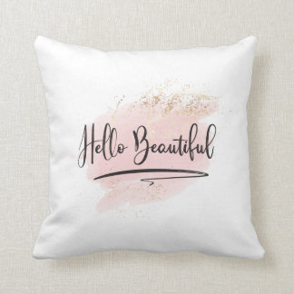 Hello Beautiful Watercolor Pillow