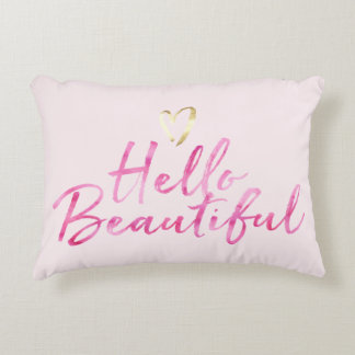 Hello Beautiful with Gold Heart Accent Pillow