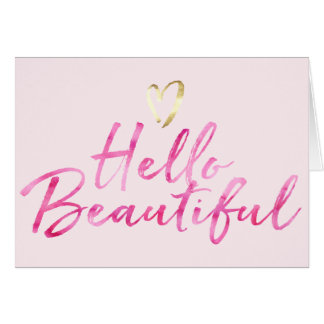 Hello Beautiful with Gold Heart Card
