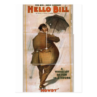 Hello Bill, 'Howdy' Retro Theater Postcard