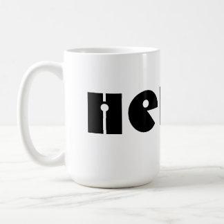 Hello!  Black and White. Custom Classic White Coffee Mug