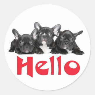 Hello Black French Bulldog Puppy Dog Sticker Seal