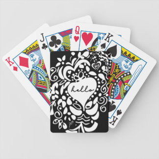 """Hello"" Black & White, hearts, leaves pattern Bicycle Playing Cards"
