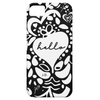 """Hello"" Black & White, hearts, leaves pattern iPhone 5 Cover"