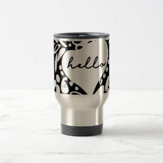 """Hello"" Black & White, hearts, leaves pattern Travel Mug"