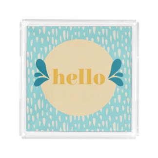 Hello Blue and Yellow Serving Tray
