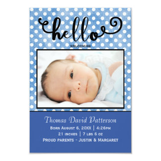 hello blue dots/blue photo - 3x5Birth Announcement