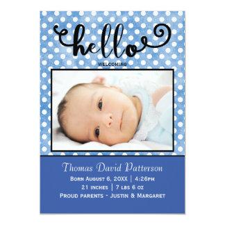 hello blue dots/blue photo - Birth Announcement