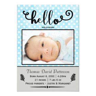 hello blue dots/gray photo - Birth Announcement