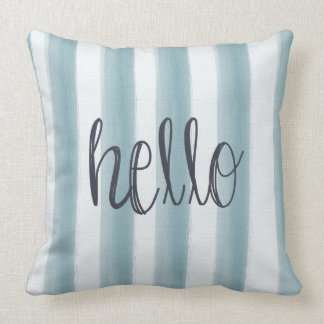Hello Blue Stripes Throw Pillow