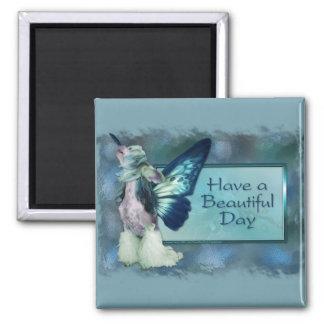 Hello - Blue Wings - Beautiful Day - Sheeba Square Magnet
