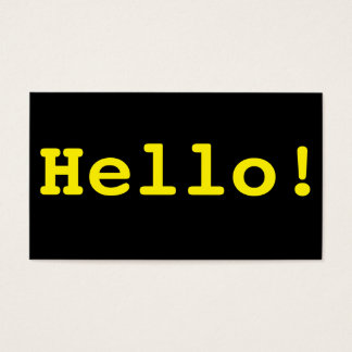 Hello Business Cards - bold typewrite design