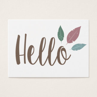 Hello calligraphy feather design card. business card