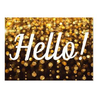 Hello Card Bright Happy Gold Glitter