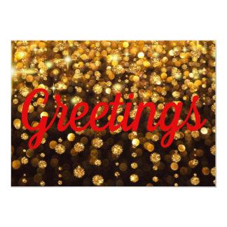 Hello Card Bright Happy Gold Glitter Red