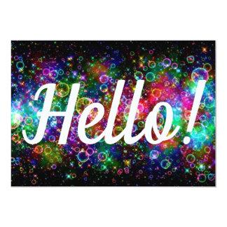 Hello Card Bright Happy Rainbow Bubbles