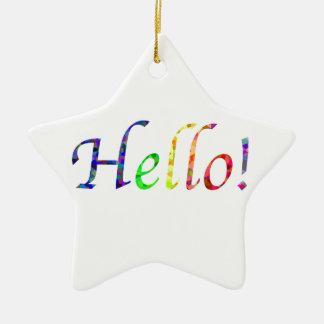 hello! ceramic ornament