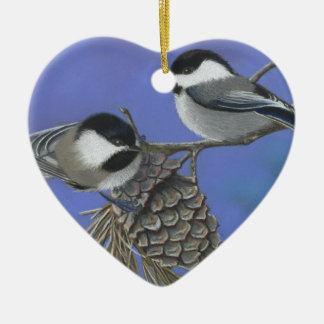 Hello Chickadees Ceramic Ornament