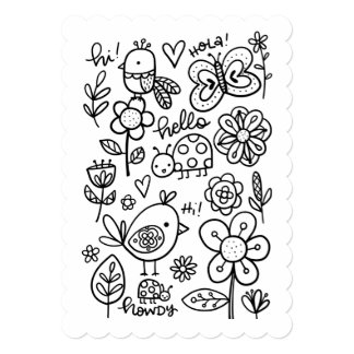Hello Coloring Page, Color Me Flat Card Card