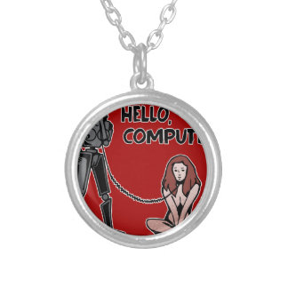 Hello, Computer Silver Plated Necklace