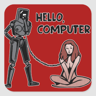 Hello, Computer Square Sticker