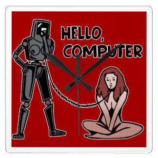 Hello, Computer Square Wall Clock