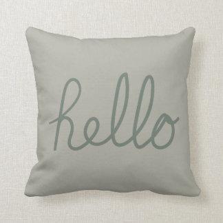Hello concept green throw pillow