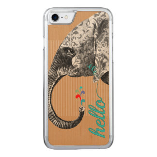 Hello Cute Colorful Elephant with Damask Pattern Carved iPhone 8/7 Case